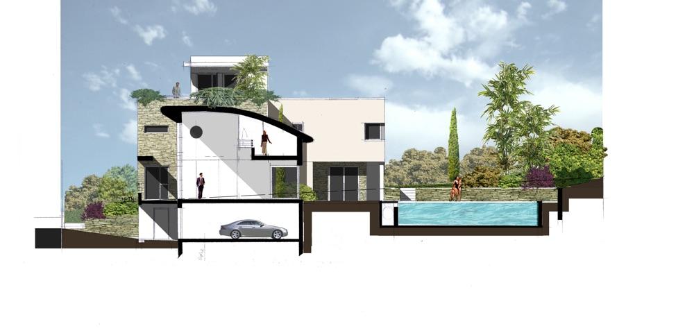 Plan et coup des différents niveaux d'une maison d'architecte