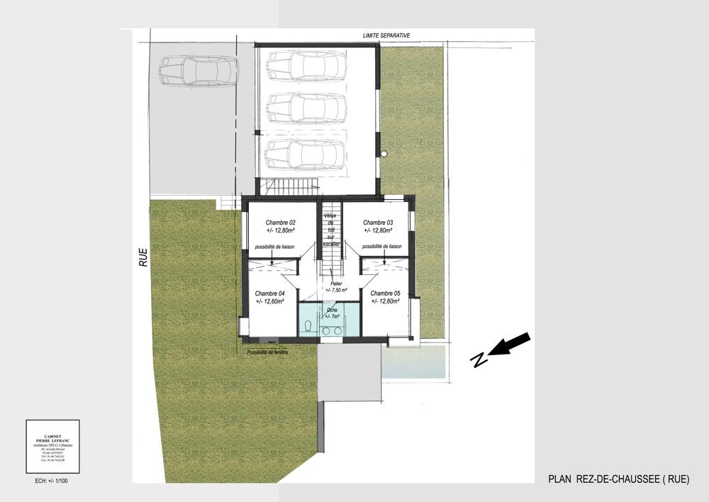 Plan intérieur de la répartition des pièces du rez-de chaussé dans un projet de construction de maison individuelle