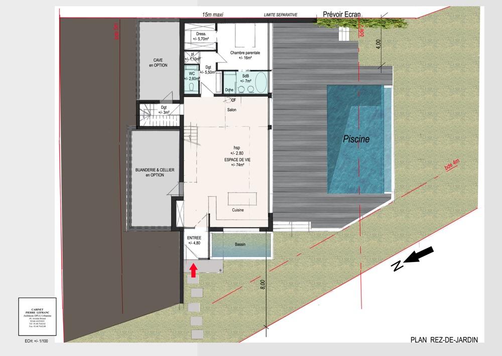 Plan intérieur de la répartition des pièces dans un projet de construction de maison individuelle