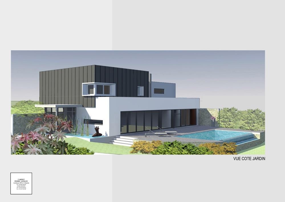 Projet de construction d'une maison neuve individuelle avec un grand jardin et de grands espaces ouverts sur l'extérieur vue côté jardin
