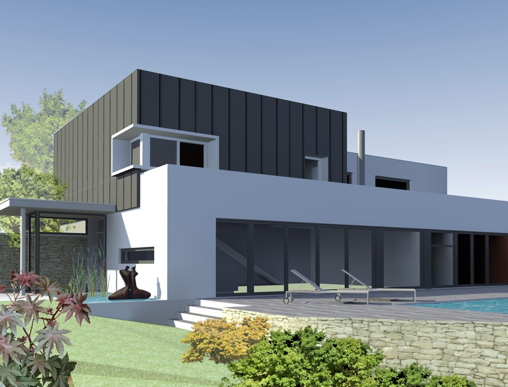 Projet de construction d'une maison neuve individuelle avec un grand jardin et de grands espaces ouverts sur l'extérieur