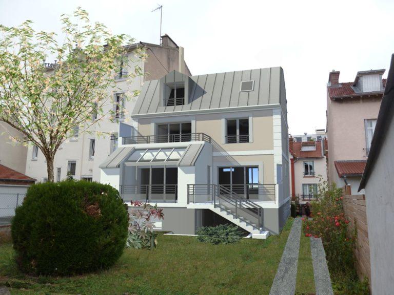 Maison individuelle en 3D dans son jardin