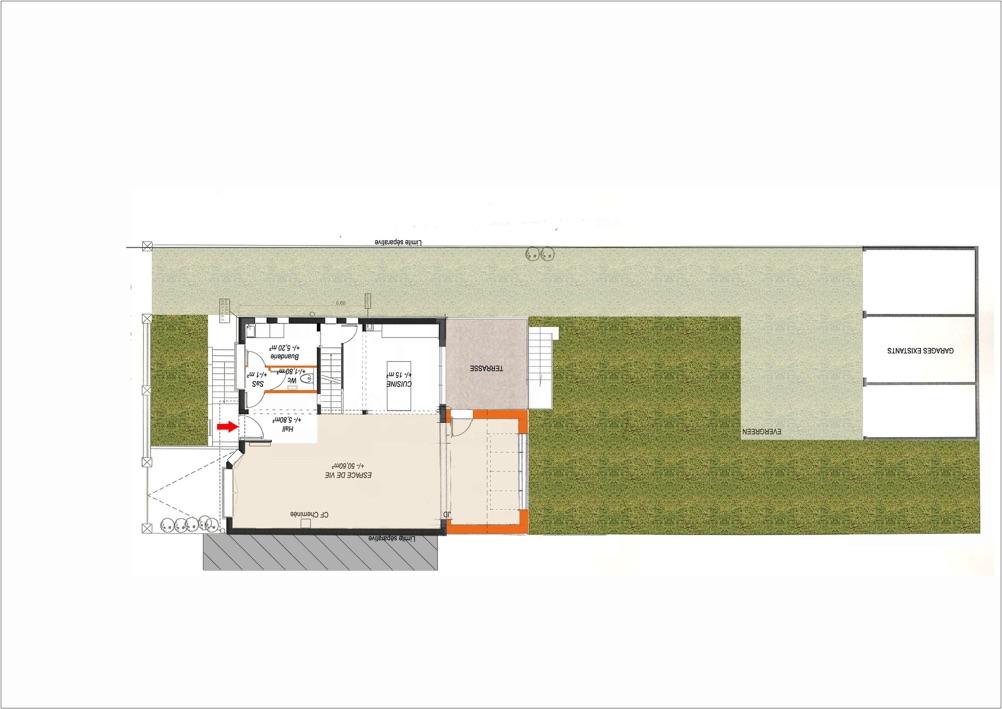 Extrait d'un plan de maison, disposition des pièces intérieures au Rez de chaussé