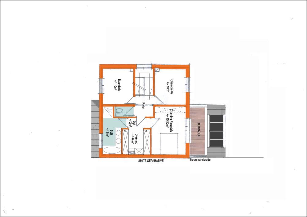 Extrait d'un plan de maison, disposition des pièces intérieures au premier niveau
