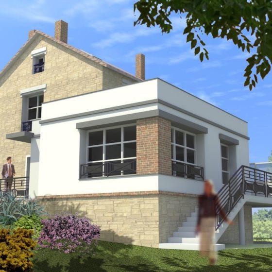 Vue 3d de la construction d'une maison