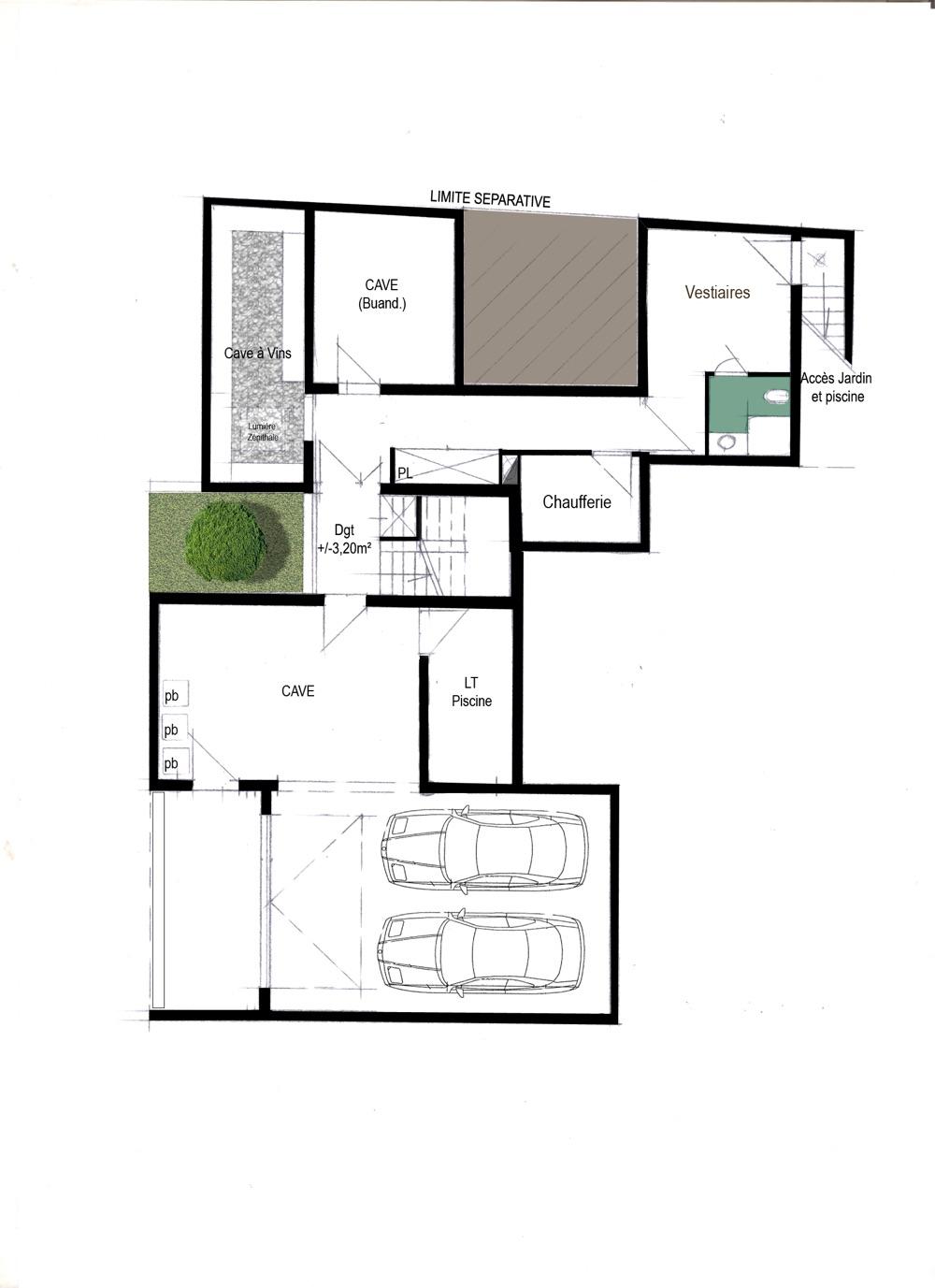 Plan intérieur du Rez de chaussé d'une maison moderne