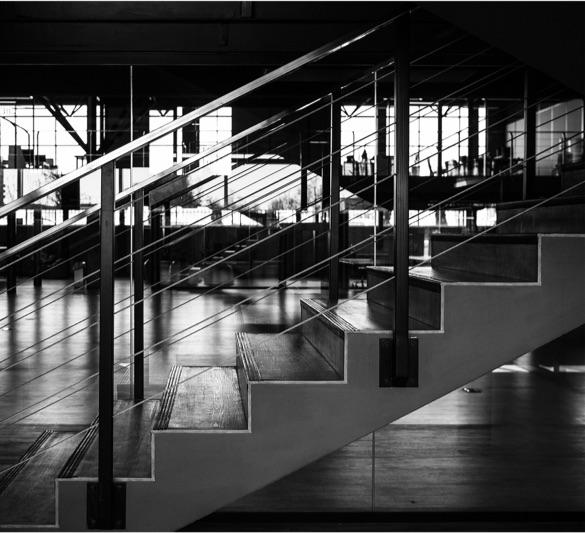 Photo noir et blanc d'un escalier dans des locaux