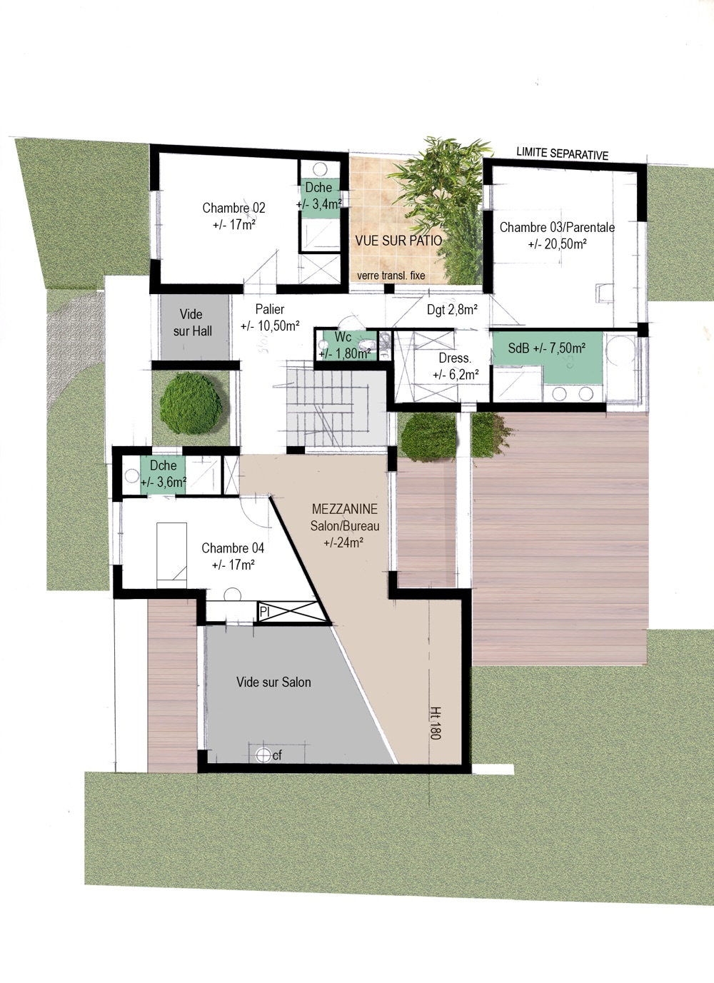 Plan des étages d'une maison individuelle par l'équipe d'architecte Methods Studio Architecteurs