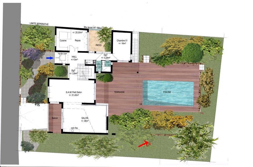 Plan du rez de chaussé d'une maison moderne