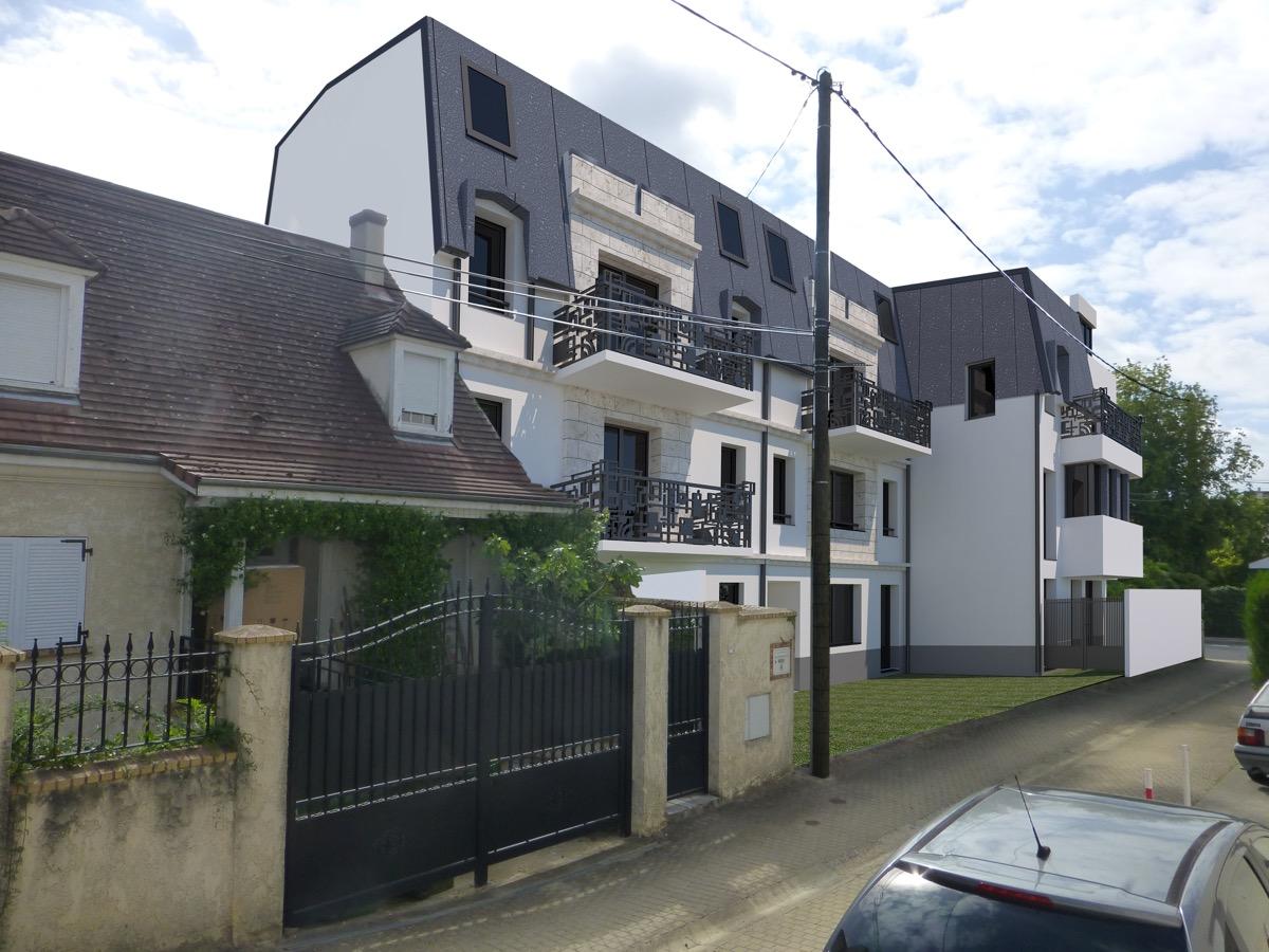 Plan 3D d'un immeuble d'habitation en banlieue parisienne par Methods Studio Architecteurs
