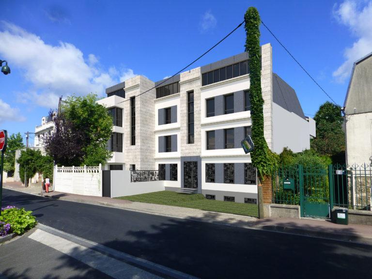 Plan 3D de la vue rue du futur logement collectif dans son environnement urbain