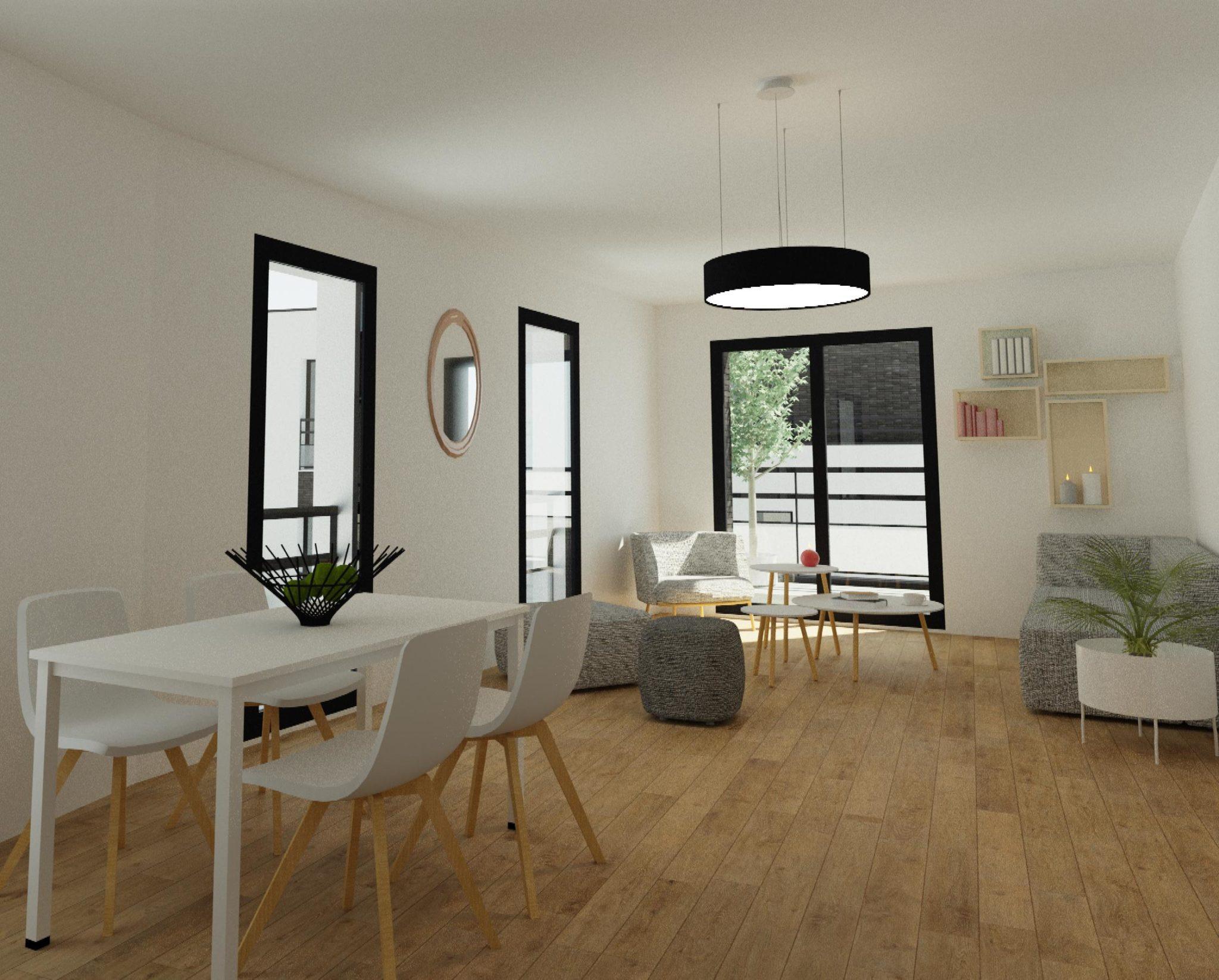 Intérieur 3d d'un projet de construction : salle manger design, salon, baie vitrée lumineuse pour le confort de la maison