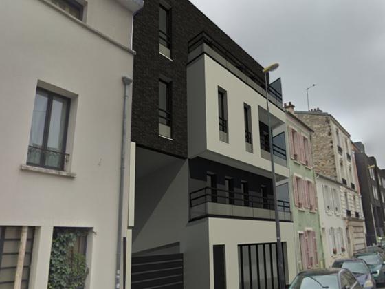 Plan 3D côté rue d'un logement collectif à destination d'habitation pour un particulier
