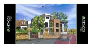 Vue 3D côté rue de la construction d'une maison neuve et moderne