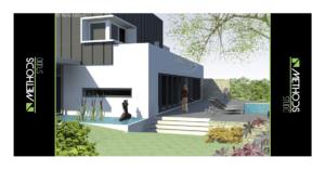 3D d'une maison neuve avec vue sur le jardin et la piscine par Methods Studio