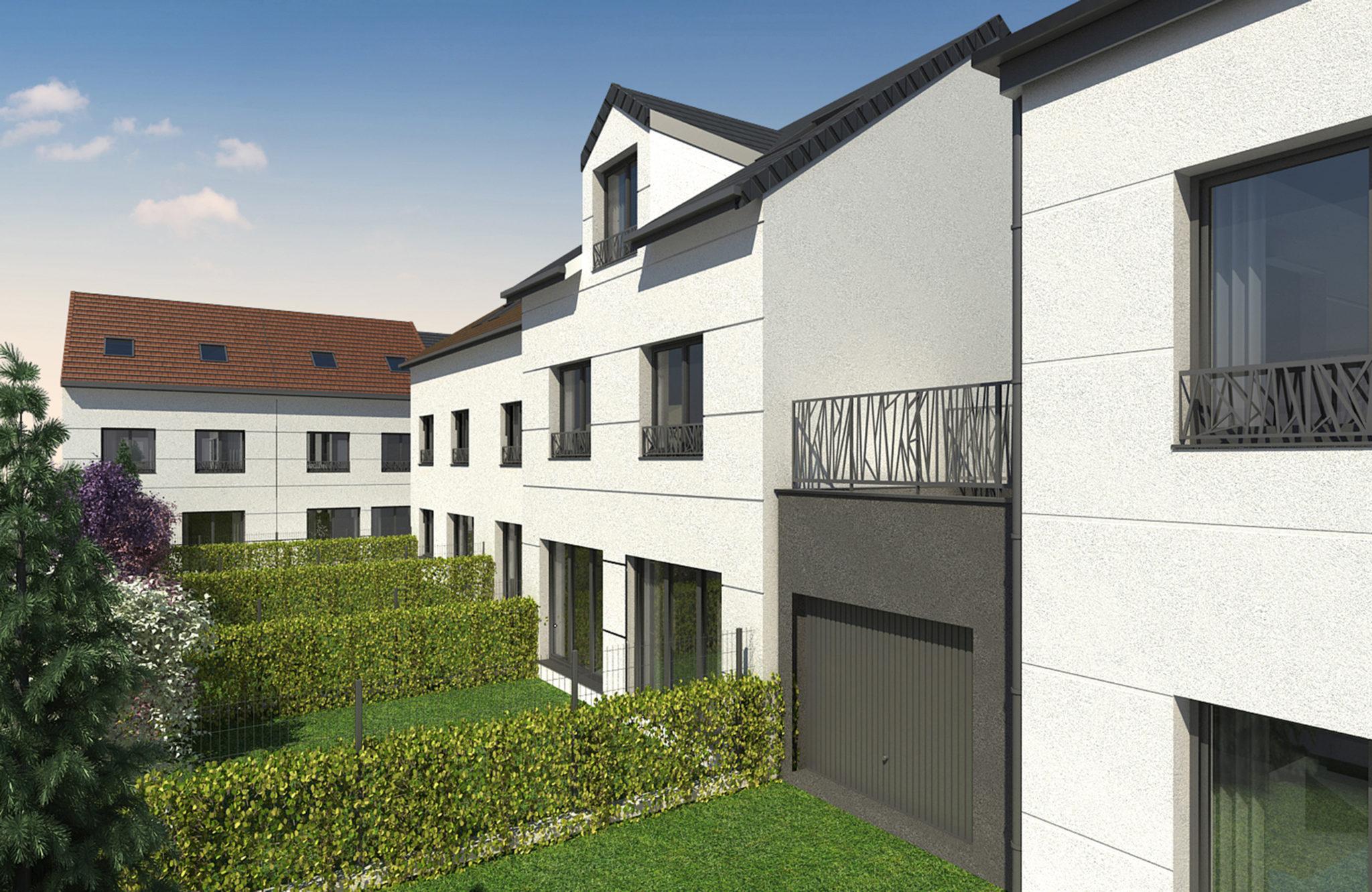 Plan 3D de la vue sur les cours intérieures construite avec les villas
