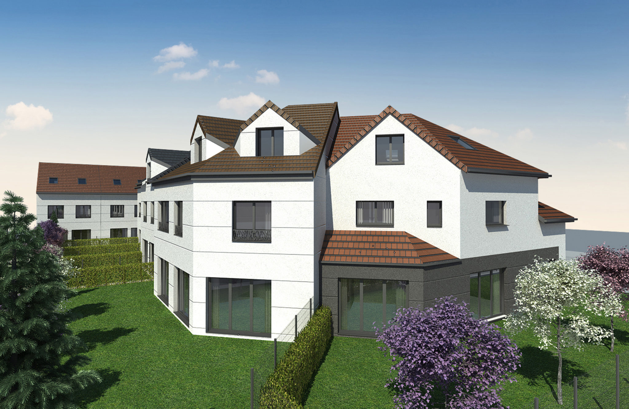 Plan 3D de la vue d'ensemble de la construction de villas