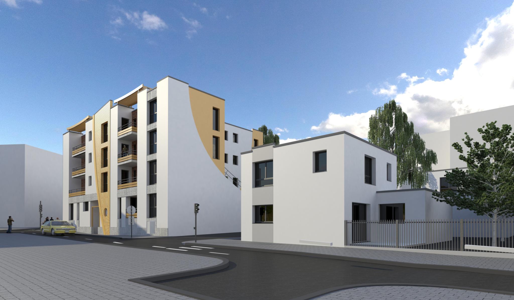 Plan 3D d'une vue côté rue du réaménagement urbain avec logement collectif en banlieue parisienne