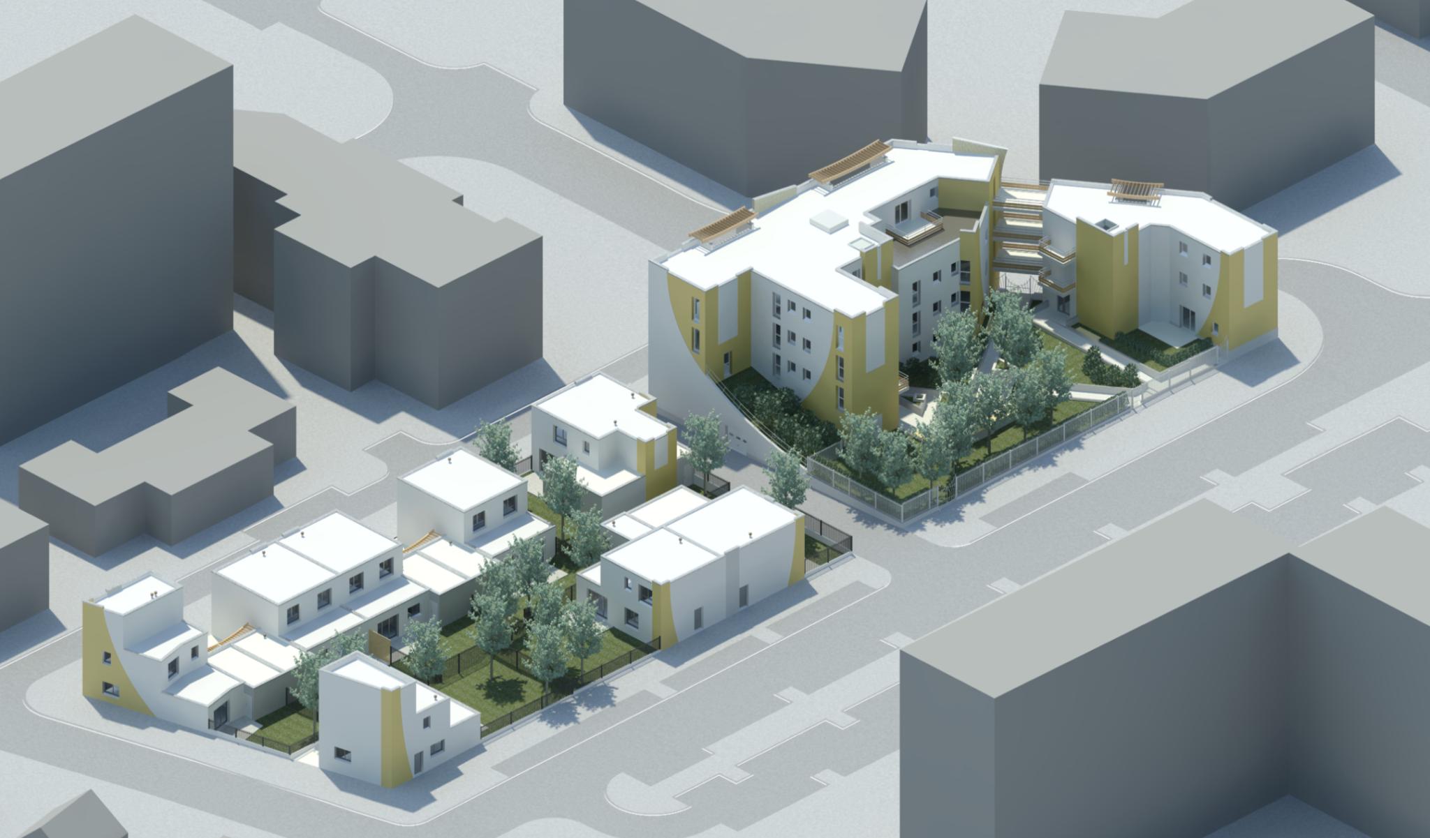 Plan 3D d'un réaménagement urbain avec des logements collectif en banlieue parisienne
