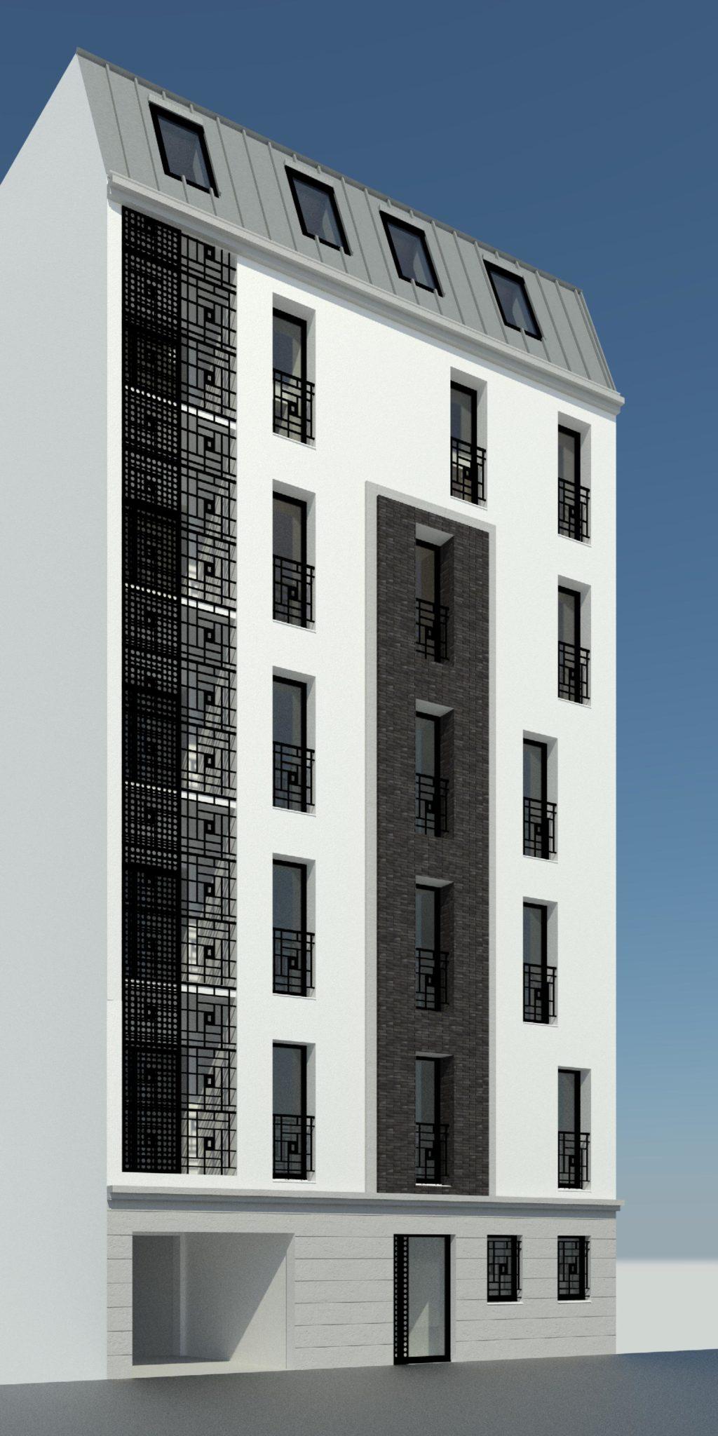 Plan 3d d'un immeuble en construction sur plusieurs niveaux