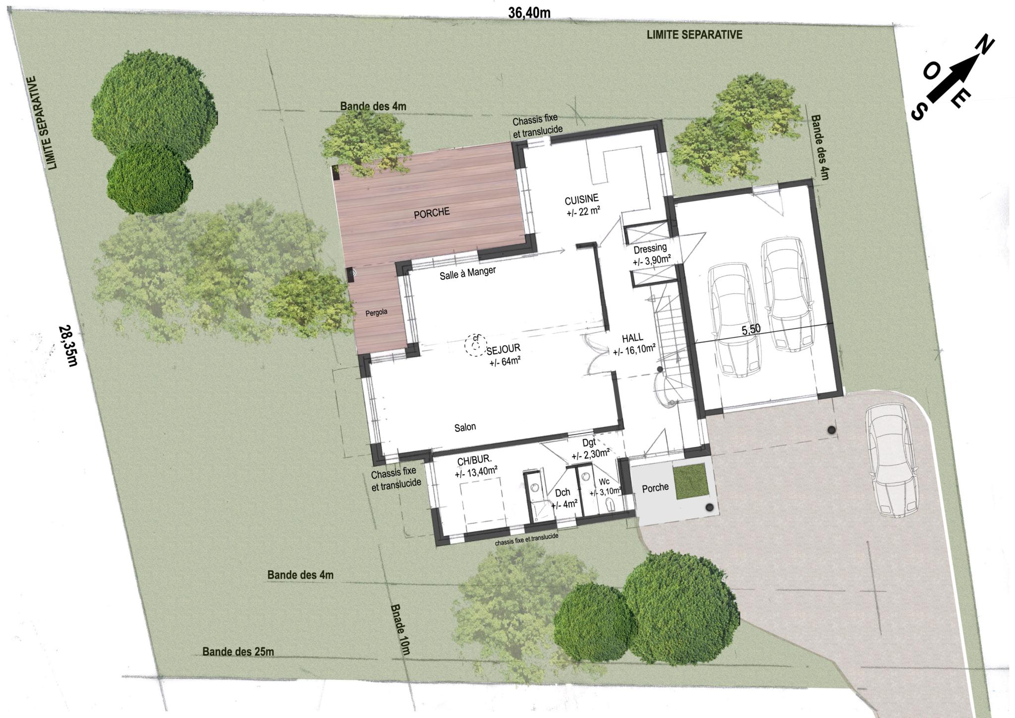 Plan d'architecte de l'intérieur de la maison contemporaine avec le salon, la chambre, le porche et le garage