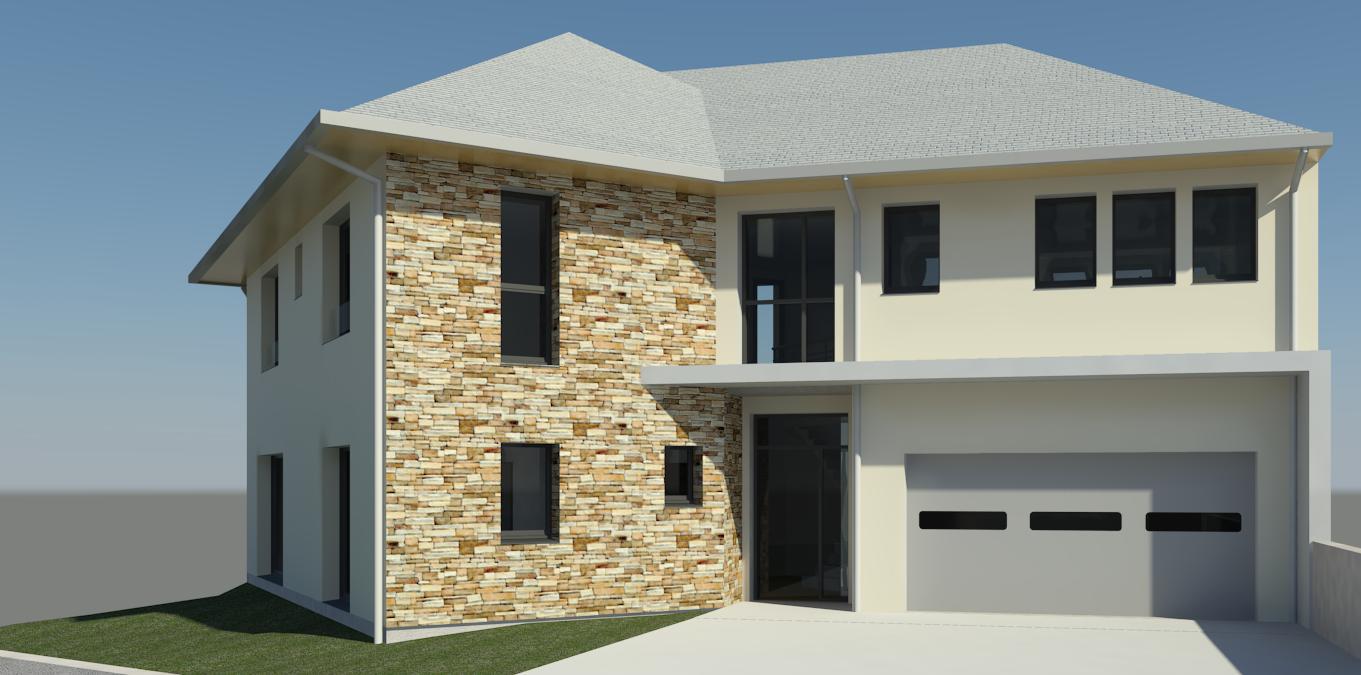 Image de la vue 3D de la maison avec l'accès au garage