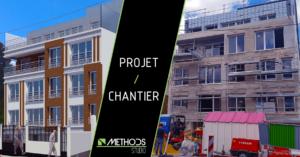 Comparaison entre un immeuble 3D et le chantier réel de la construction clé en main d'un immeuble d'habitation