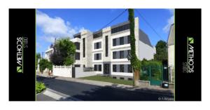 Prise de vue 3D d'un immeuble construit pour des particuliers promoteurs aux portes de Paris