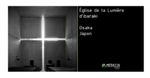 Photo noire et blanc de l'église de la lumière d'Ibaraki par l'architecte Tadao Ando