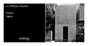 Photo en noir et blanc de la maison Azuma construite par Tadao Ando