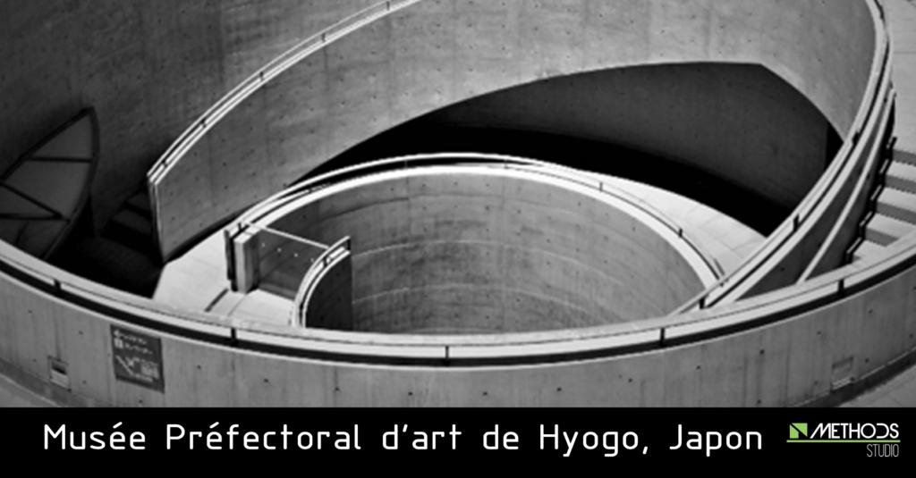Photo noire et blanc du musée préfectoral d'art de Hyogo de l'architecte Tadao Ando