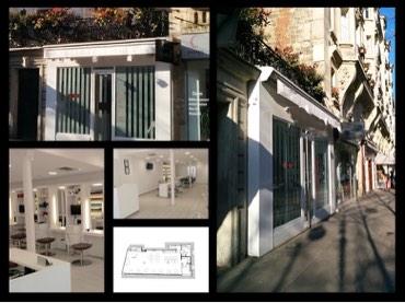 Mosaïque photos de la rénovation d'un salon de coiffure à Paris